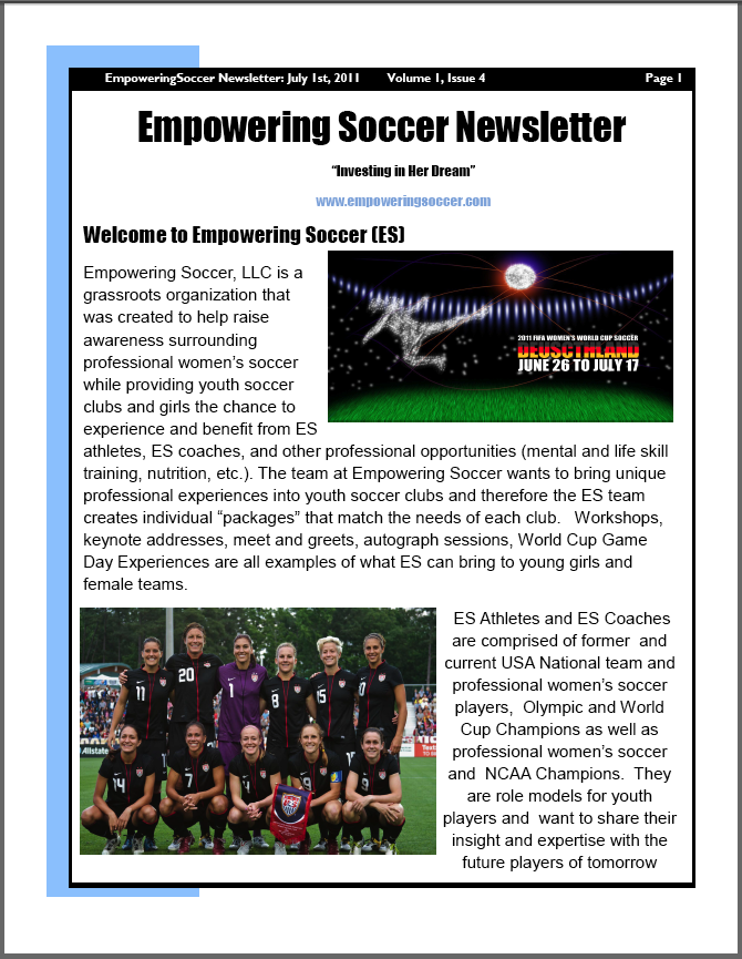 Empowering Soccer Newsletter Vol 1 Issue 4 | Points Sports ... Soccer Newsletter